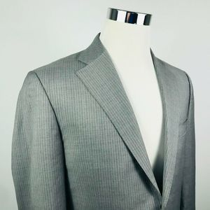 Canali Mens 40R Suit Jacket Gray Striped 100% Wool